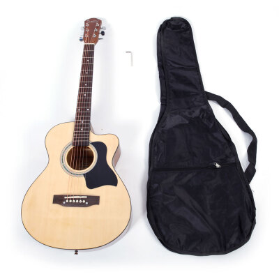 Glarry 38 inch Spruce Front Cutaway Folk Guitar with Bag Burlywood Color