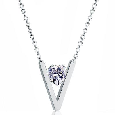 YISHIZHIAI V-shaped pendant simple personality necklace clavicle chain fashion womens jewelry 4455