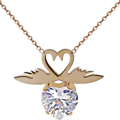 YISHIZHIAI Double Swan Pendant Simple Necklace with Diamond Fashion Clavicle Necklace 4493