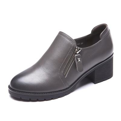 Aokang Aokang single shoes simple side zip commuter rough with fashion shoes 165121071 gray 35 yards