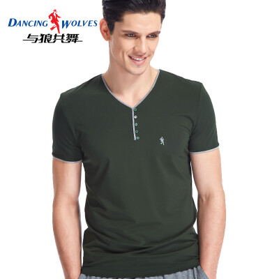 Dancing with wolves short-sleeved T-shirt mens cotton slim solid color V-neck half-sleeve male 9869 forest green XL