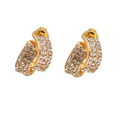 YAZILIND Новая мода Позолоченные горный хрусталь жемчужина уха Стад серьги для женщин