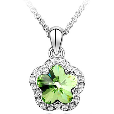 Flower Necklace Crystal Fashion Jewelry Women High Quality Accessories 18KGP Classic Simple Necklace Pendants 237