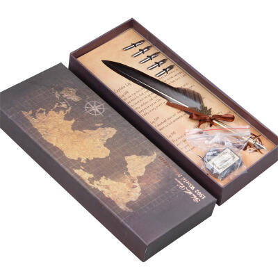 Goose Feather Quill Pen Grey Natural Dip Calligraphy Writing Dip Quill pen Gift in Box