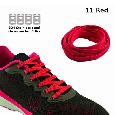 JUP 8 Pairs Lazy Not Tie Shoelaces Metal Fashion Simple Without Laces Fluorescent Green without Closure on Flat Soles Lacing