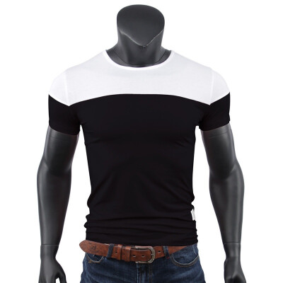 Summer Men&39s New Short Sleeved T-shirt Neck Casual Casual Color Cotton T-shirt Self-cultivation Jacket