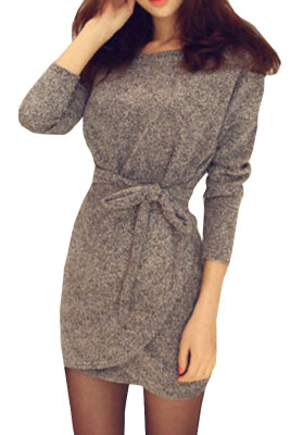 Lovaru ™summer style 2015 new women dress Seven round collar sleeve simple pure color mini dress fashion casual style