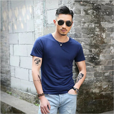 Men Summer Round Neck Slim Fit T Shirt