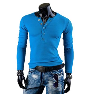 Zogaa New Mens T-shirt Long Sleeve V-neck Slim