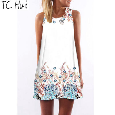 2018 new trend fashion digital printing round neck strapless dress