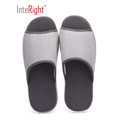 INTERIGHT natural series open home slippers simple floor cotton slippers mens dark gray 41-42 IN1805