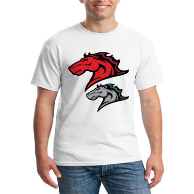 Mens O Round Neck Casual Short Sleeves Fashion Cotton T-Shirts Double Horses Heads Picture Digital Print