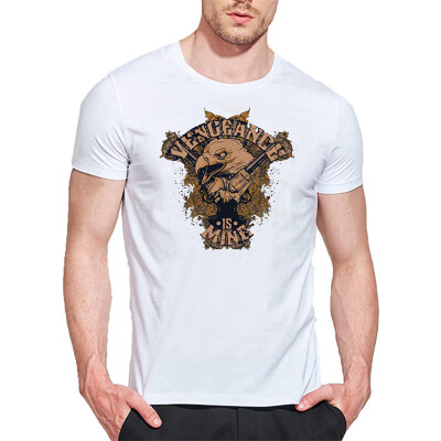 Mens O Round Neck Casual Short Sleeves Fashion Cotton T-Shirts Eagle Head Picture & Letter 3D Digital Print