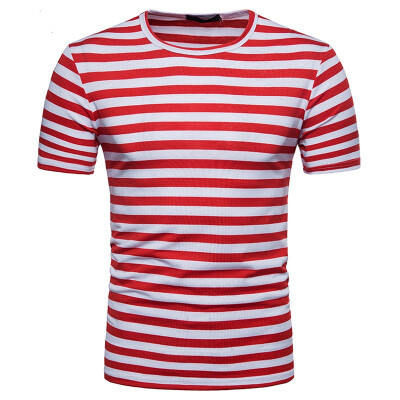 JCCHENFS 2018 Classic Striped t shirt Top Fashion Brand Mens T-Shirt O-Neck Short Sleeve T Shirt For Men High quality Clothing