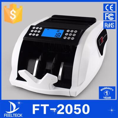 FT2050 Money counter New LCD Display Money Bill Counters Counterfeit Detector UV & MG Cash Bank 110V 220V EU