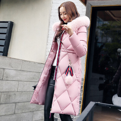 High Quality Hooded Fur Collar Winter New Thicken Slim Long Women Outwear Solid Large Size Ladies Parkas Thick Cotton Coat Down Cotton-padded Jacket New Arrival