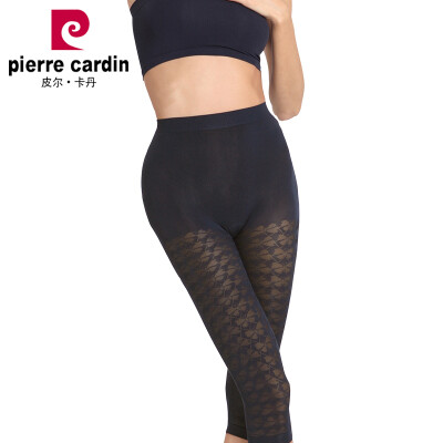 Pierre Cardin Seven-point Leggings Women Summer Cool Seamless Fashion Jacquard Cropped Pants Black No 3 Flower Size 1 Pack