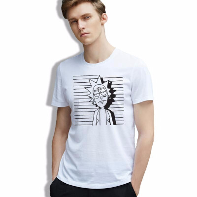 2018 cotton men T-Shirt Rick&morty Striped Ulzzang clothes Hipster Anime Harajuku Fashion Tees