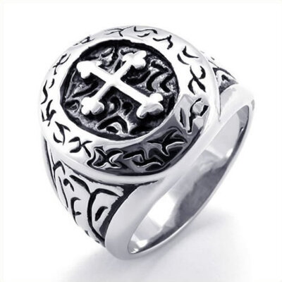 Hpolw Stainless Steel Classic Vintage a streaks edged with lace with a cut - out cross Mens Ring Silver&black Mens RingWi