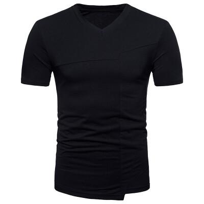 JCCHENFS 2018 Summer Short Sleeve Tops Fashion Patchwork Mens T-Shirt High Quality Cotton T Shirt For Men Hem splits Streetwear