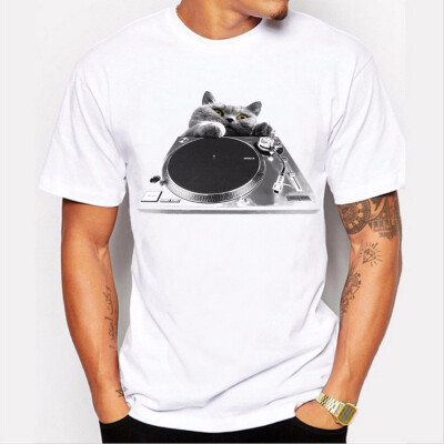 JCCHENFS 2018 DJ Cat Print T Shirt For Men Summer Short Sleeved Summer Mens T-Shirts Fashion Black And White Funny t shirt