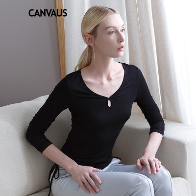 CANVAUS New Spring Autumn Women Clothing Tee Shirt Tops Solid Slim Casual OL V-neck Hollow String Long Sleeve T-shirt Undershirt