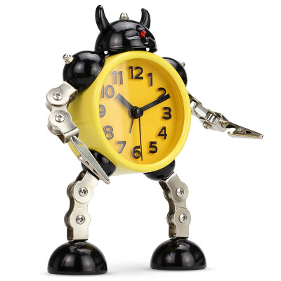 Code Shi alarm clock children cartoon personality lazy mechanical electronic cute living room creative metal student mute small alarm clock RB2774 horn yellow