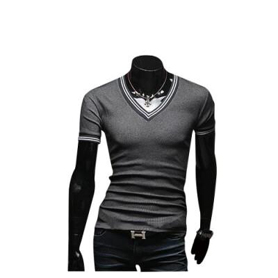 Zogaa Summer Mens T-shirt Pure Cotton Patchwork Fashion Short Sleeve