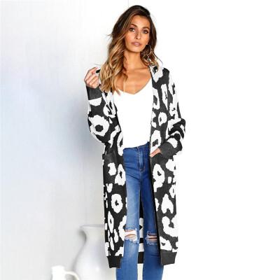 2018 Fashion Womens Autumn&Winter Long-sleeved Cardigan Printed Sweater