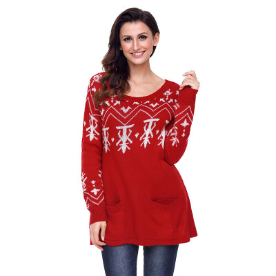 PREISEI Autumn Winter Sweet Casual Loose Print Pullover Straight Knitted Christmas Sweater Women PR27720