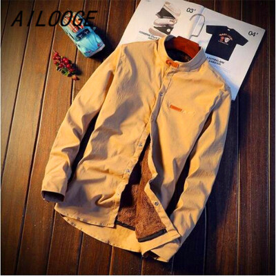 Mens 2018 New Winter Stand collar Casual Solid color Fleece Corduroy Wool Warm Shirt fashion Male Long Sleeve Shirts blouses
