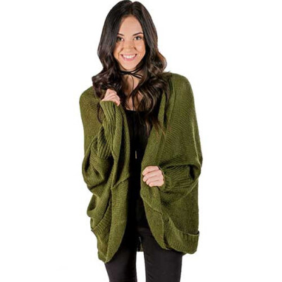 PREISEI Autumn Casual Elegant Loose Solid Batwing Sleeve Long Cardigan Women Knitted Sweater Coat Knitwear Outerwear PR27768