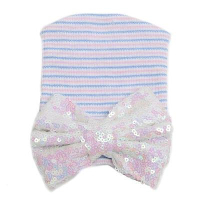 UK Cute Newborn Baby Girls Infant Toddler Comfy Bowknot Hospital Cap Beanie Hat