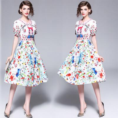 DFYOP Lapel short sleeve cartoon girl character print long dress