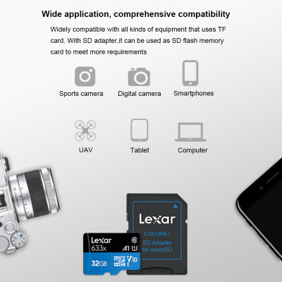 Lexar TF Card Reading Speed 95MBs Writing Speed 20MBs Micro SDHC Class10 UHS-I U1 V10 A1 Memory Cards 512GB
