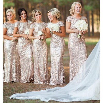 Women Bridesmaid Ball Prom Gown Formal Cocktail Long Sequin Dress Evening Party