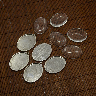 PH PANDAHALL 5 Sets Clear Oval Glass Cabochon Cover&Antique Silver Alloy Pendant Cabochon Settings