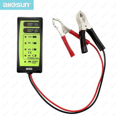 Mini 12V Automotive Car Battery Tester Charger Alternator Cranking Check with 6-LED Display Easy to Use ALL-SUN GK503