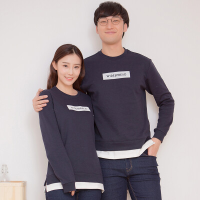 Intercrew South Korea 2017 spring new couple fake two pieces of sweater women Korean version of the students round neck t-shirt printed long sleeve T-shirt ITR1TM33A navy 90