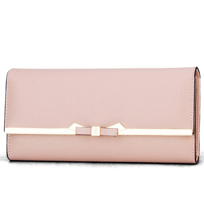 Montessori MONTAGUT wallet female long paragraph two fold bow Korean version of the big money folder folder Ms simple buckle R5222056214 pink