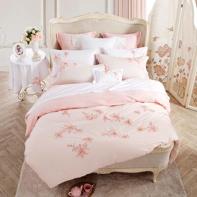 Гранд (Тевли) текстильная подстилка денит вышитые розовые цветы на заборе 40 плотности 1,5 м кровати 200 * 230 см