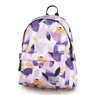 Fly zebra FLYZEBRA printed shoulder bag female casual computer backpack middle school student bag FBB0014-16 charm purple leaf