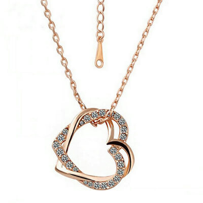 Yoursfs Open Heart Necklace for Women 18K Rose GP Fashion Jewelry CZ Double Heart Pendant