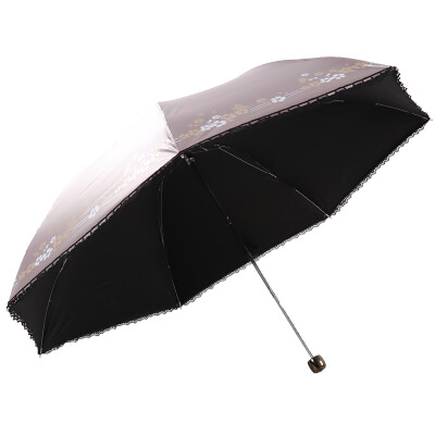 [Jingdong supermarket] paradise umbrella walk pastoral black polyester color plastic three fold pencil sunny umbrella sun umbrella green 33015E