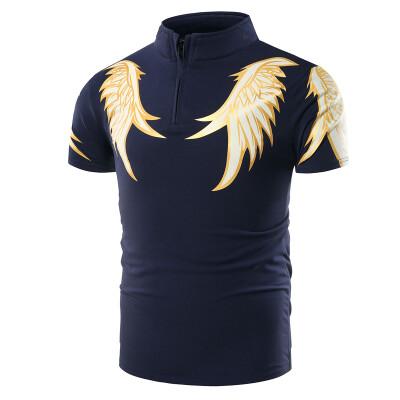 Mens short sleeved Lapel fashion T-shirts printed cotton slim new short sleeved Polo shirt