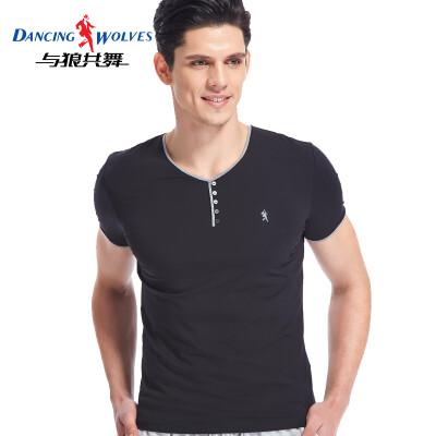 Dance with wolves short-sleeved T-shirt mens cotton slim solid color V-neck half-sleeve male 9869 black XXL
