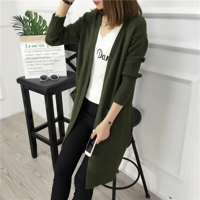 2017 autumn new large size in the long paragraph sweater cardigan large pocket loose sweater female jacket