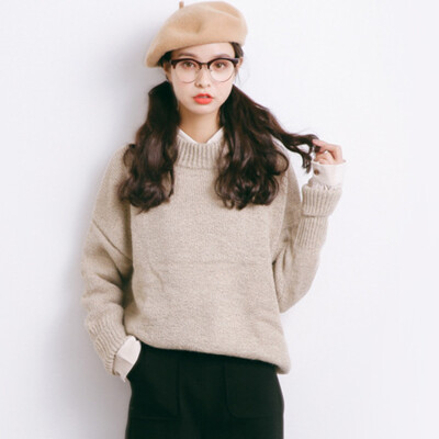 City plus CITYPLUS 2017 autumn&winter new women&39s art wild round long-sleeved loose loose sweater sweater CWYC179360 apricot gray
