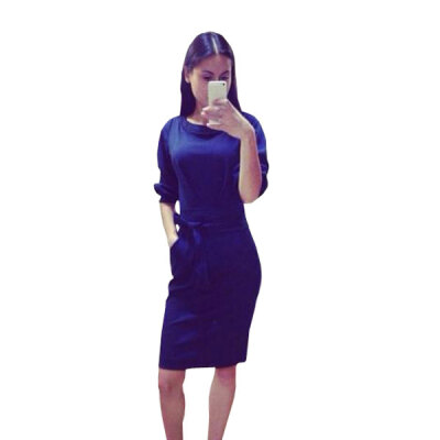 Lovaru ™summer style 2015 new women dress Simple pure color cultivate one's morality dress fit round tie pockets