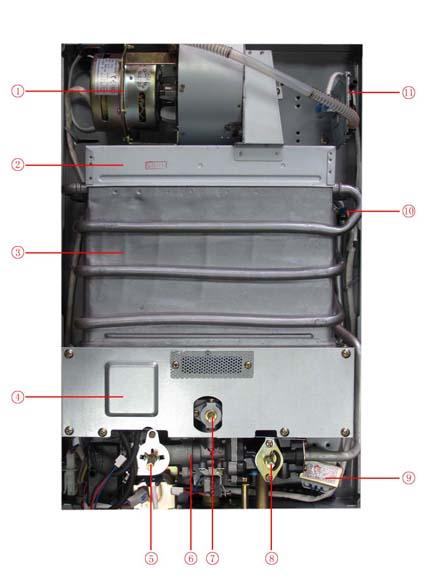 万和燃气热水器jsq16-8b-9超薄亚光四季型强排式的内部结构图片